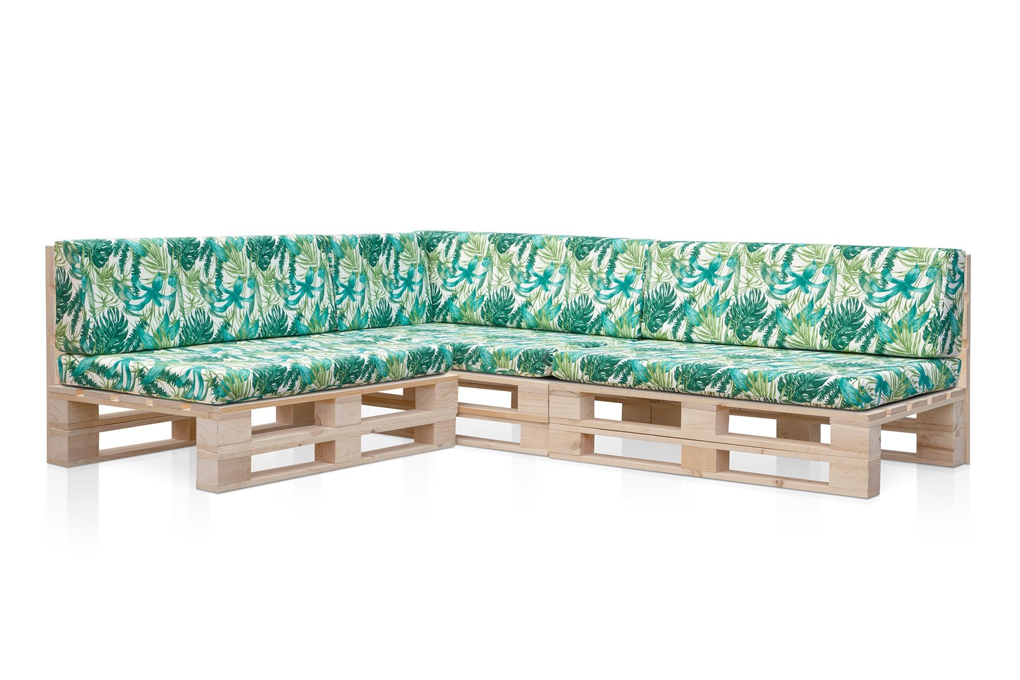 Sofá palet con cojines en Estampado Elga