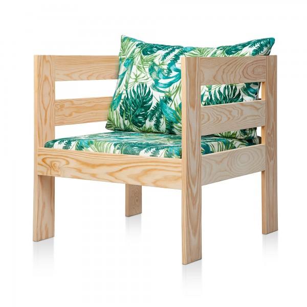 Sofá de madera Mediterráneo cojín estampado Elga