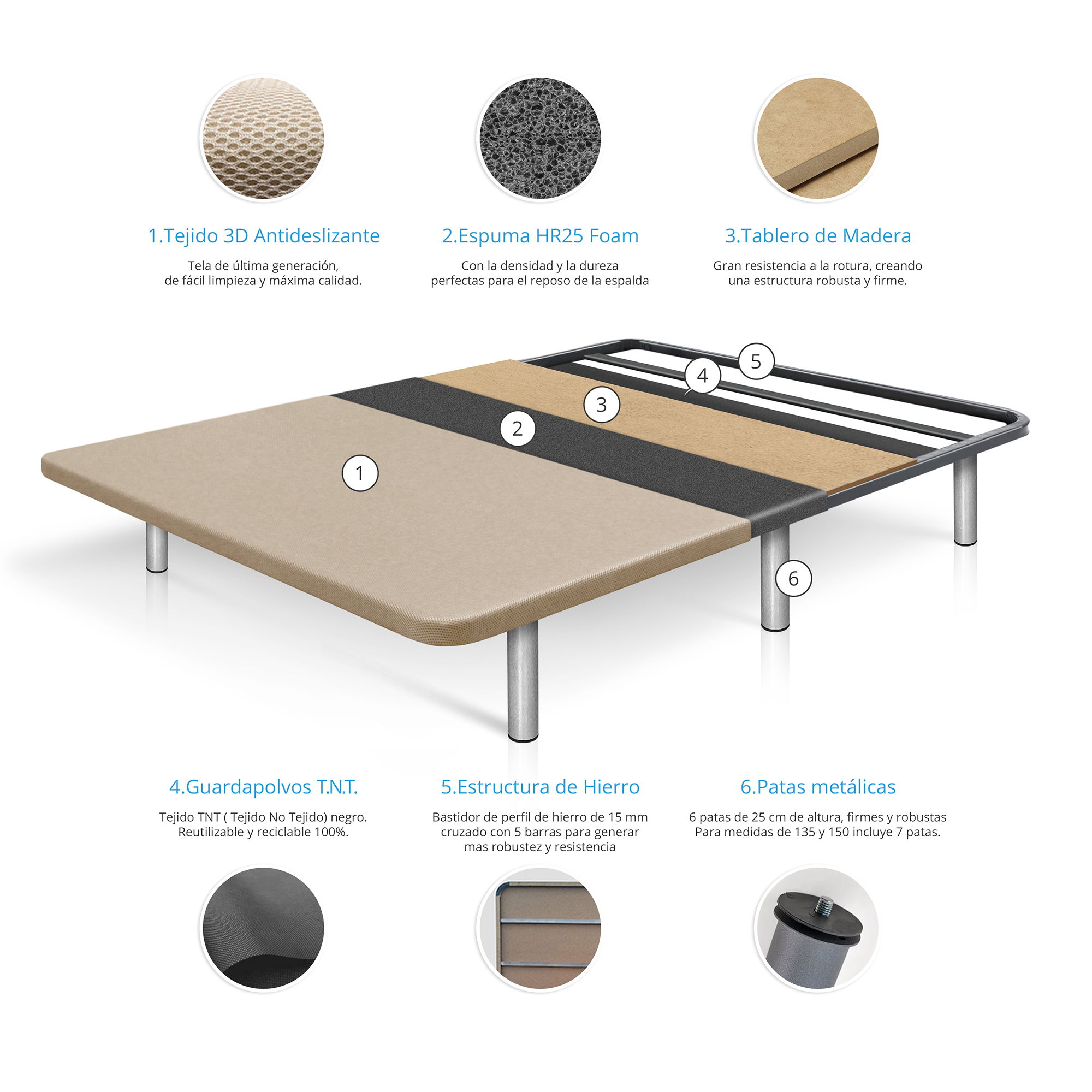 Composición base de cama reforzada tapizada